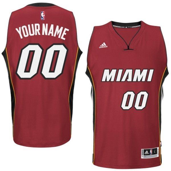 Miami Heat Red Men's Customize New Rev 30 Jersey