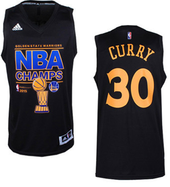 Warriors 30 Curry Black 2015 NBA Champions Jersey