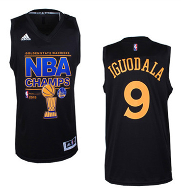 Warriors 9 Iguodala Black 2015 NBA Champions Jersey