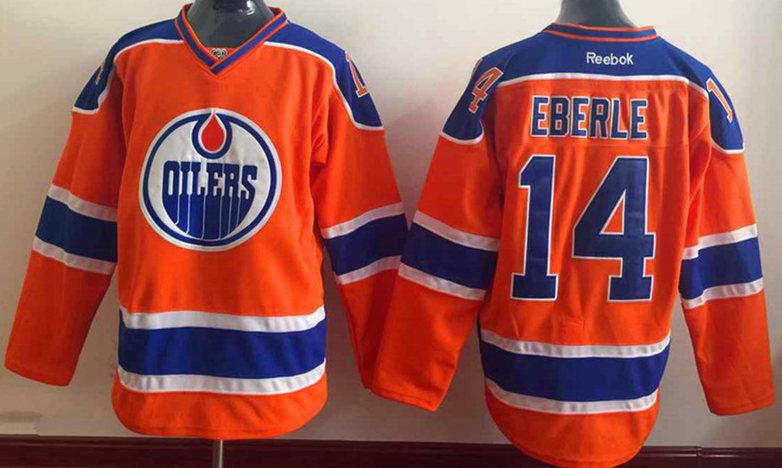 Oilers 14 Eberle Orange Reebok Jersey