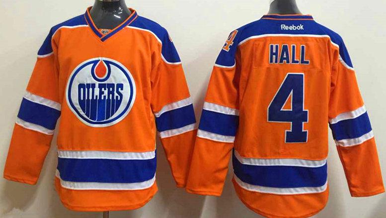 Oilers 4 Hall Orange Reebok Jersey