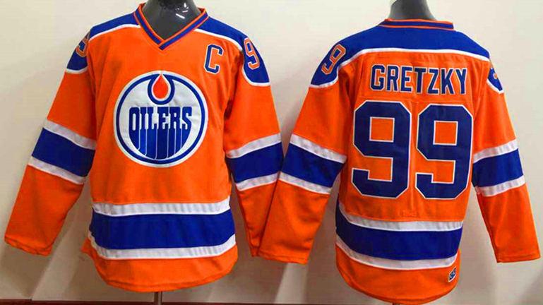Oilers 99 Gretzky Orange Reebok Jersey