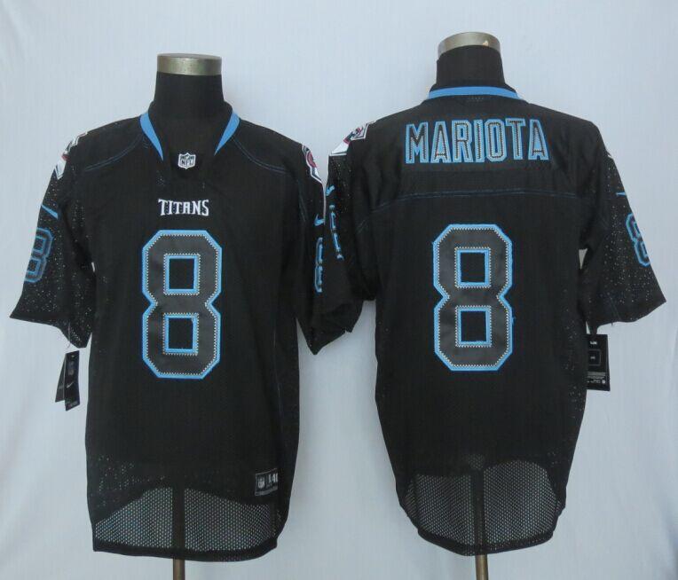 Nike Titans 8 Mariota Black Lights Out Elite Jersey