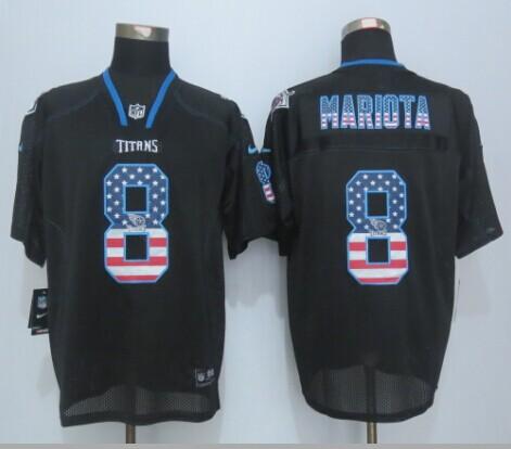 Nike Titans 8 Mariota USA Flag Fashion Black Elite Jersey