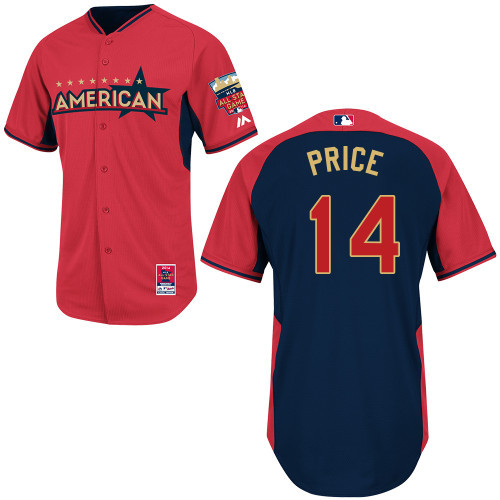 American League Rays 14 Price Red 2014 All Star Jerseys