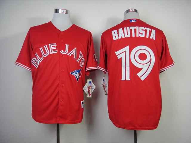 Blue Jays 19 Bautista Red Cool Base Jerseys