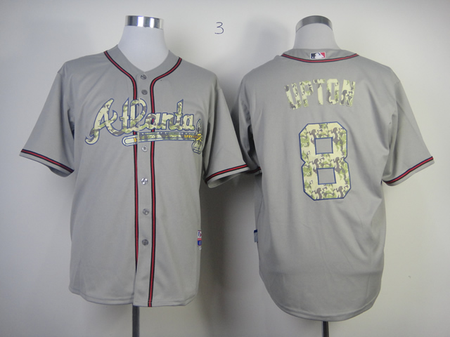 Braves 8 Upton Grey camo number Jerseys