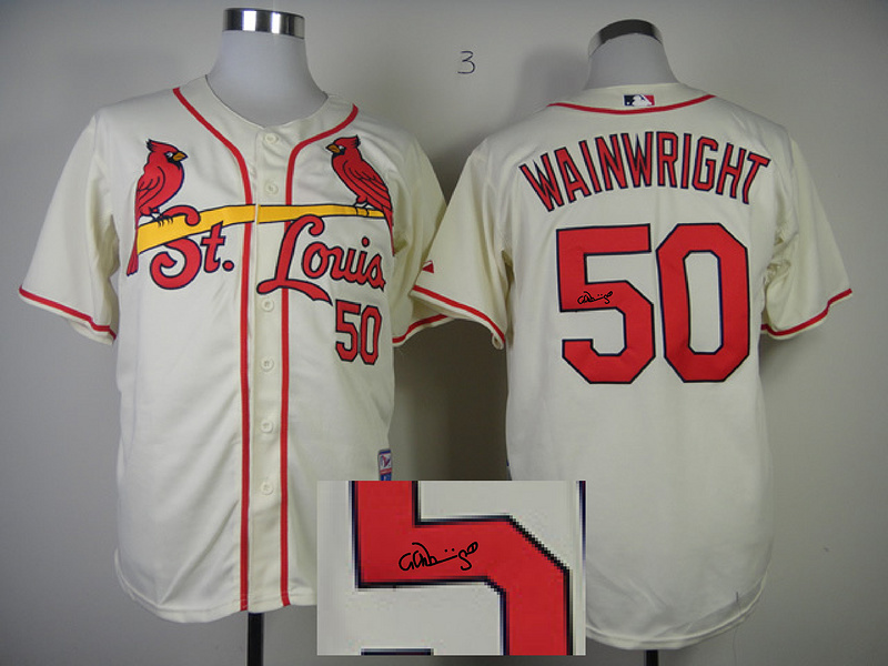 Cardinals 50 Wainwright Cream Signature Edition Jerseys