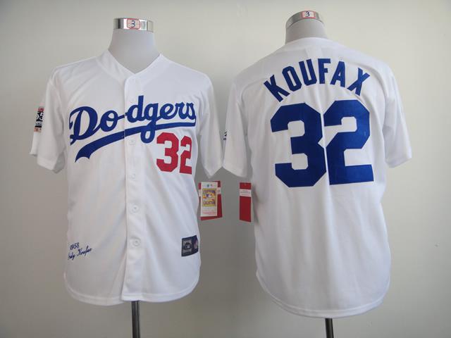 Dodgers 32 Koufax White 1958 M&N Jerseys