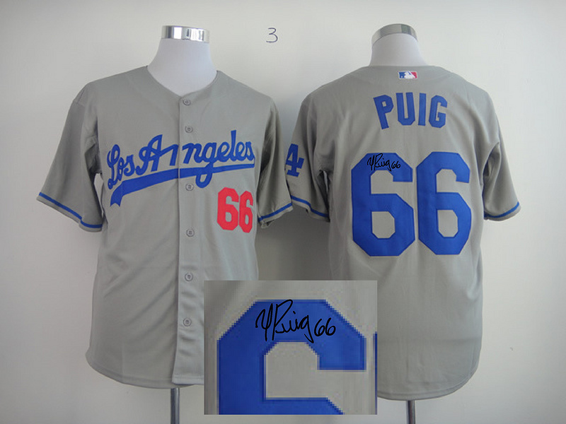 Dodgers 66 Puig Grey Signature Edition Jerseys