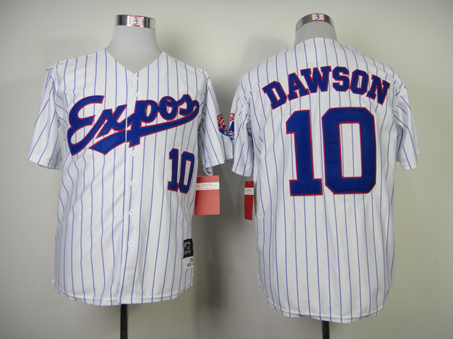 Expos 10 Dawson White Blue Stripe Jerseys