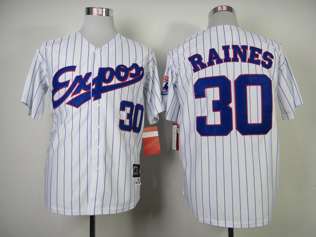 Expos 30 Raines White Blue Stripe Jerseys