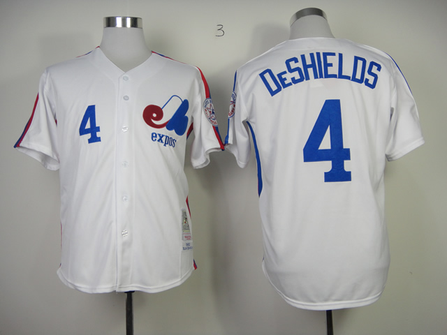 Expos 4 DeShields White 1982 Throwback Jerseys