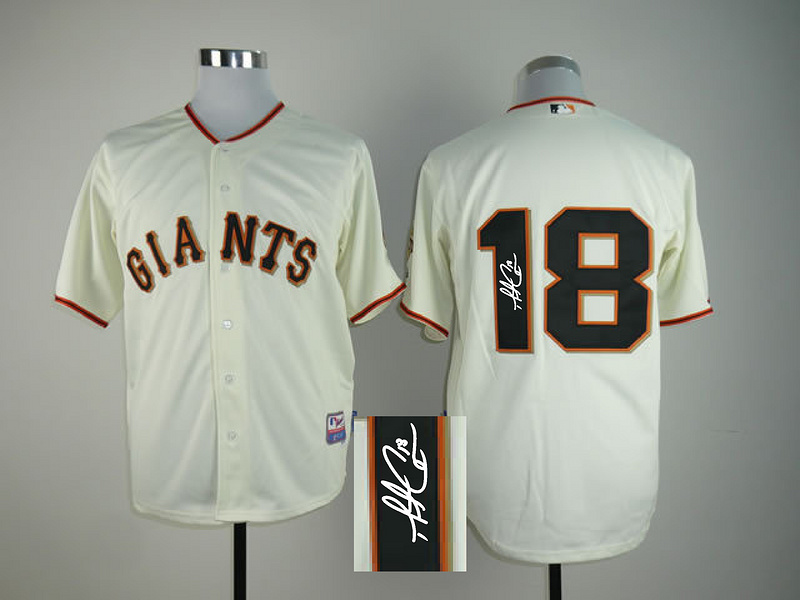 Giants 18 Cain Cream Signature Edition Jerseys