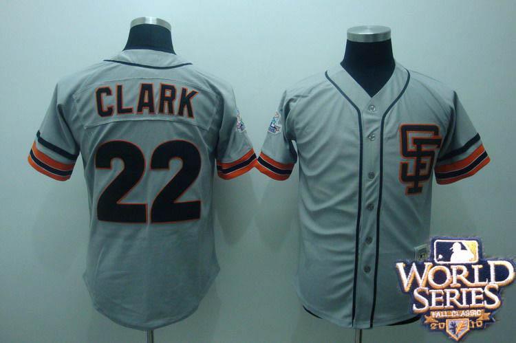Giants 22 Clark gray world series jerseys