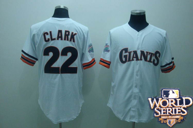 Giants 22 clark white world series jerseys