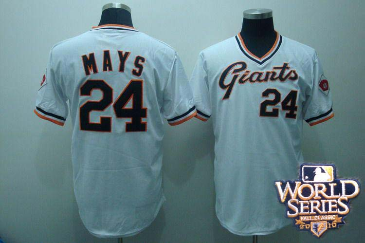 Giants 24 MAYS white world series jerseys