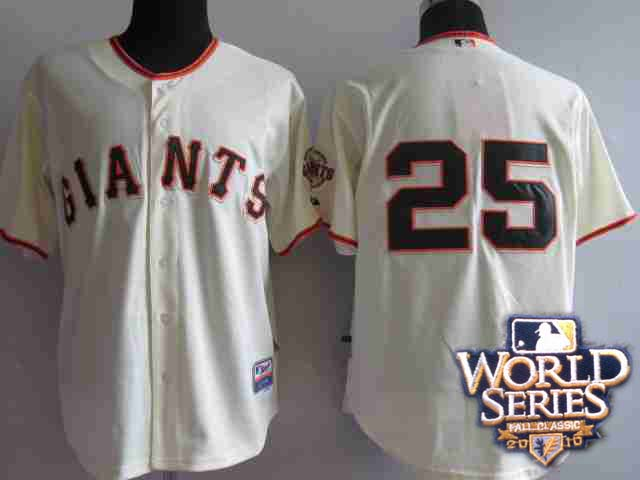 Giants 25 Barry Bonds cream world series jerseys