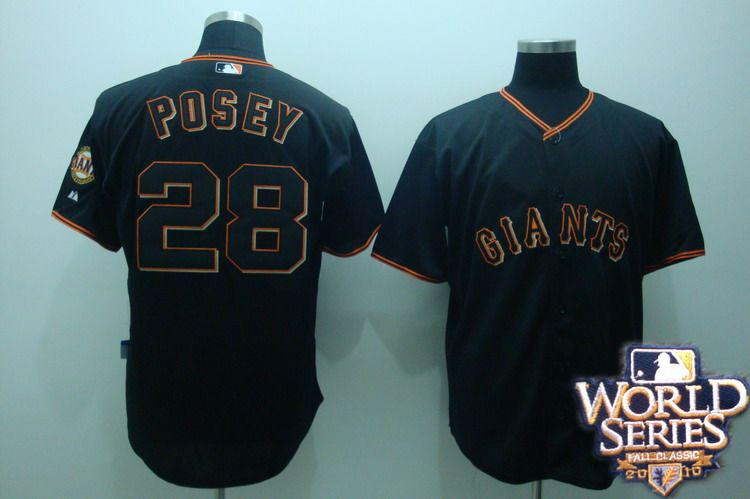 Giants 28 posey black world series jerseys
