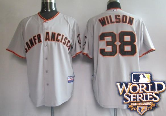 Giants 38 Wilson black world series jerseys