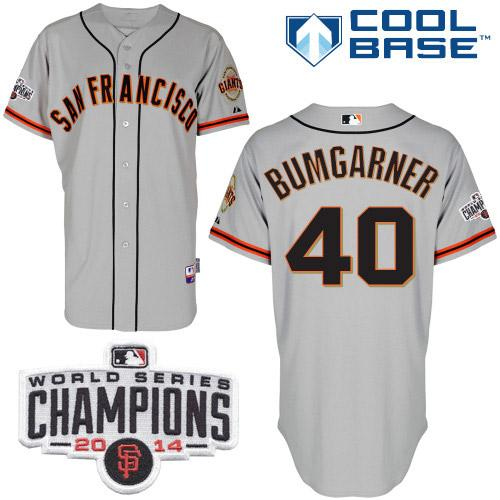 Giants 40 Bumgarner Grey 2014 World Series Champions Cool Base Jerseys