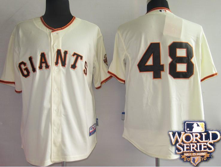 Giants 48 Sandoval cream world series jerseys