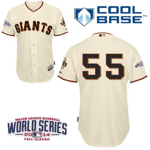 Giants 55 Lincecum Cream 2014 World Series Cool Base Jerseys