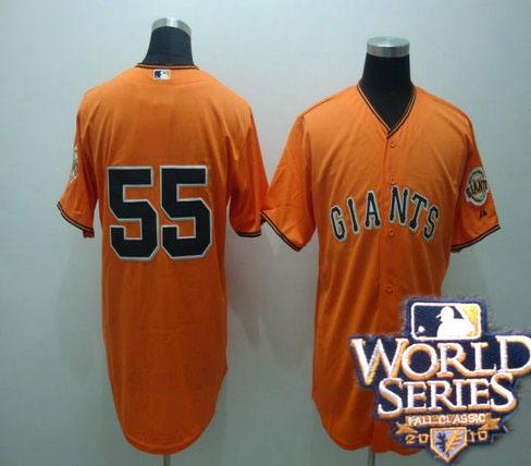 Giants 55 Tim Lincenum orange world series jerseys