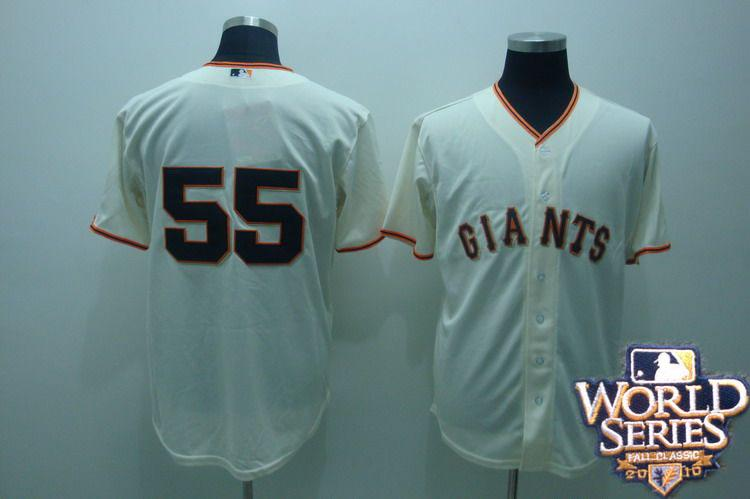 Giants 55 tim lincenum cream world series jerseys