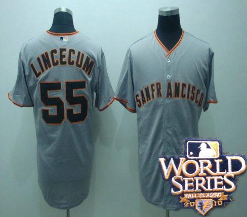 Giants 55 tim lincenum gray world series jerseys