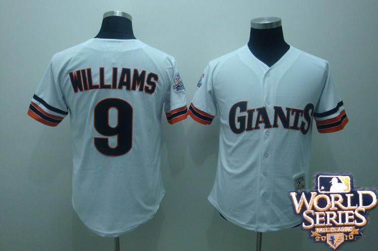 Giants 9 williams white world series jerseys