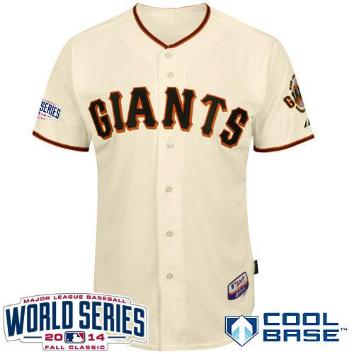 Giants Blank Cream 2014 World Series Cool Base Jerseys