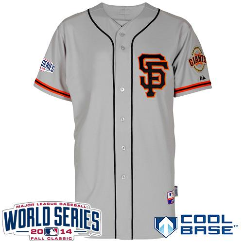 Giants Blank Grey 2014 World Series Cool Base Road 2 Jerseys