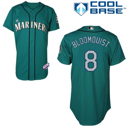 Mariners 8 Bloomquist Green Cool Base Jerseys