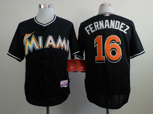 Marlins 16 Fernandez Black Cool Base Jerseys