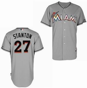 Miami Marlins 27 Stanton grey Cool Base Jerseys