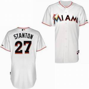 Miami Marlins 27 Stanton white Cool Base Jerseys