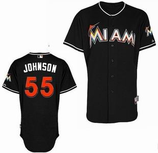 Miami Marlins 55 Johnson black Jerseys