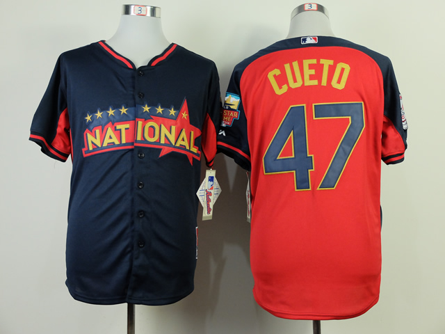 National Leaguw Reds 47 Cueto Blue 2014 All Star Jerseys