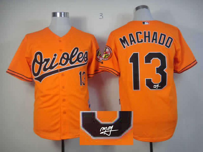 Orioles 13 Machado Orange Signature Edition Jerseys
