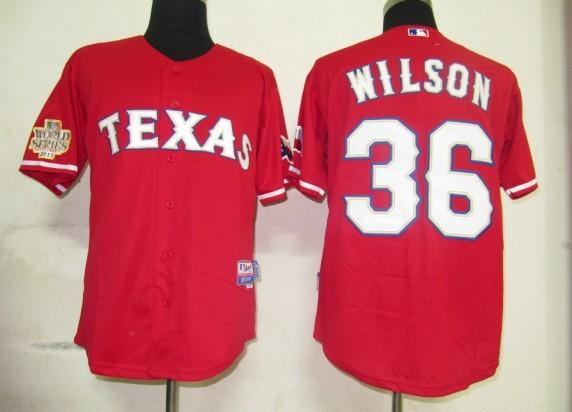 Rangers 36 Wilson red 2011 world series Jerseys