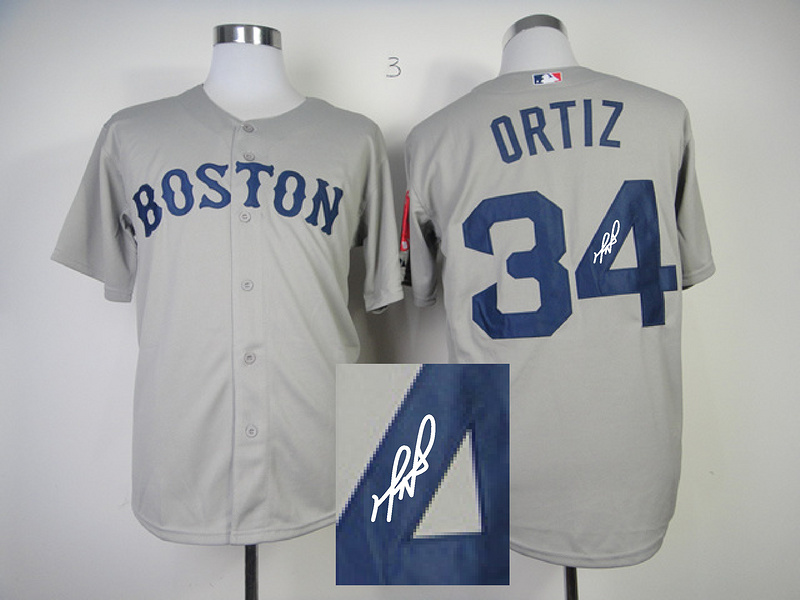 Red Sox 34 Ortiz Grey Signature Edition Jerseys