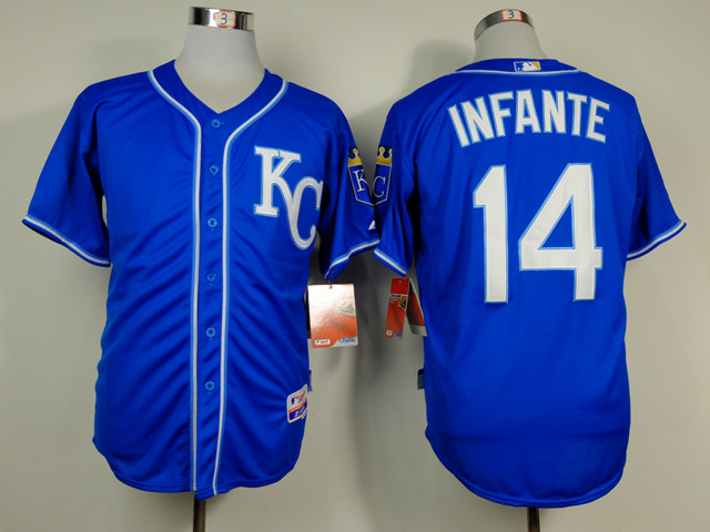 Royals 14 Infante Blue Alternate 2 Cool Base Jerseys