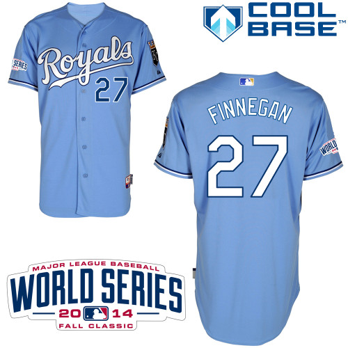 Royals 27 Finnegan Light Blue 2014 World Series Cool Base Jerseys