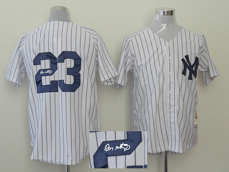 Yankees 23 Mattingly White Signature Edition Jerseys