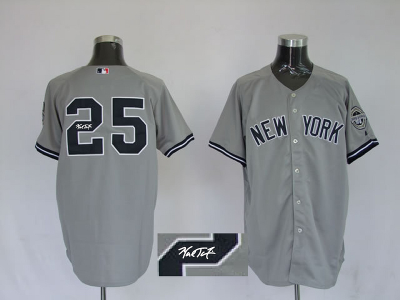 Yankees 25 Teixeira Grey Signature Edition Jerseys