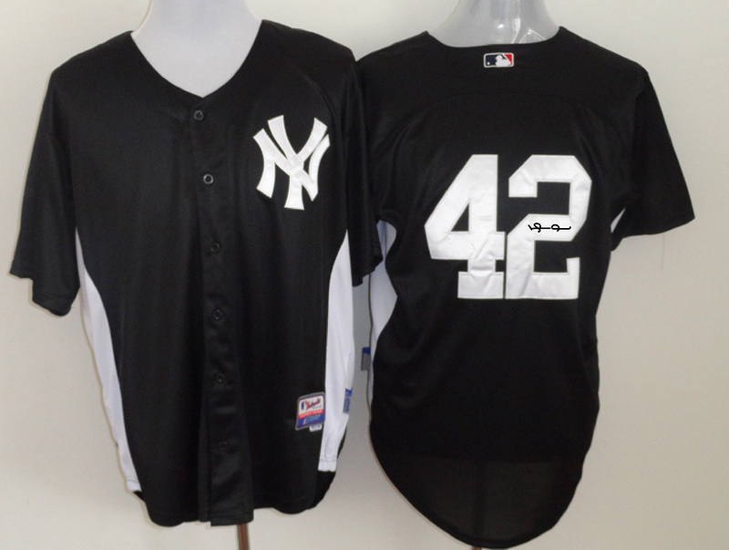 Yankees 42 Rivera Black Signature Edition Jerseys
