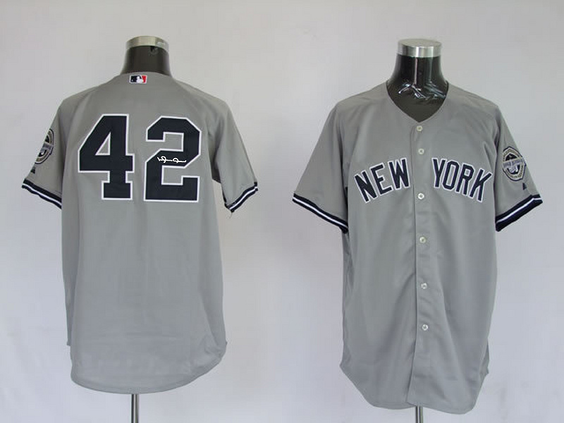 Yankees 42 Rivera Grey Signature Edition Jerseys