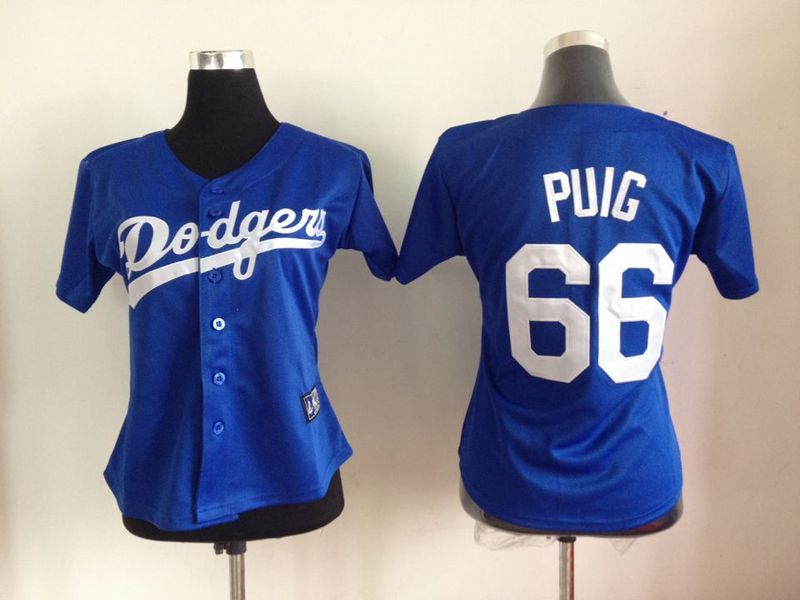 Dodgers 66 Puig Blue Women Jersey