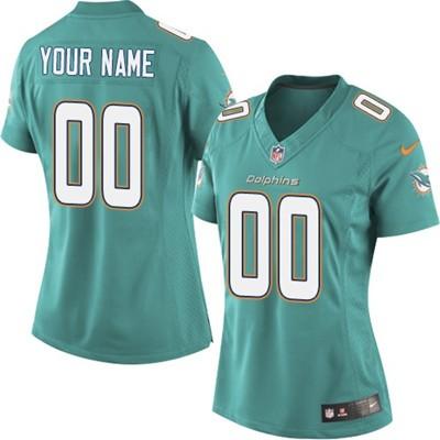 Nike Dolphins Green Women Customized Jersey